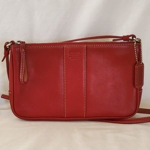 Authentic Coach Red Leather Slim Demi Crossbody